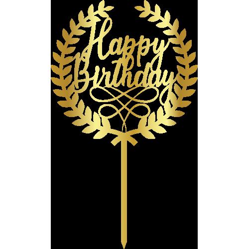 Topper - Happy Birthday Cember çelenk, altin