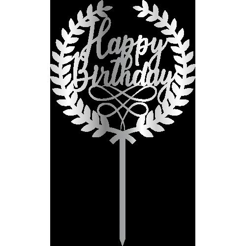 Topper - Happy Birthday Cember çelenk, gümüş