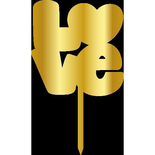 Topper - Büyük Love, altin, H: 16 cm