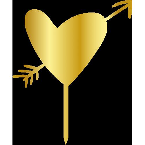 Topper - Oklu Kalp, altin, H: 16 cm