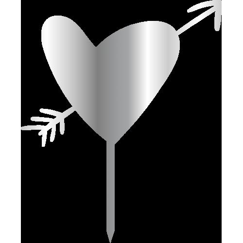 Topper - Oklu Kalp, gümüs, H: 16 cm