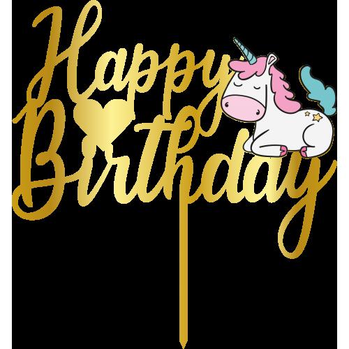 Topper - Happy Birthday Unicorn,  altin, H: 16,5 cm