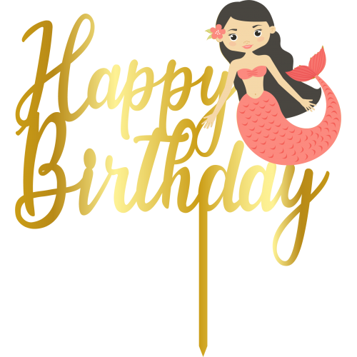 Topper - Happy Birthday Deniz kizi,  altin, H: 16 cm