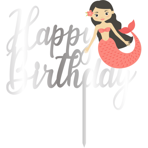 Topper - Happy Birthday Deniz kizi,  gümüs, H: 16 cm