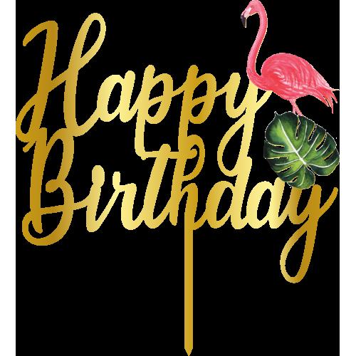 Topper - Happy Birthday Flamingo,  altin, H: 16,5 cm