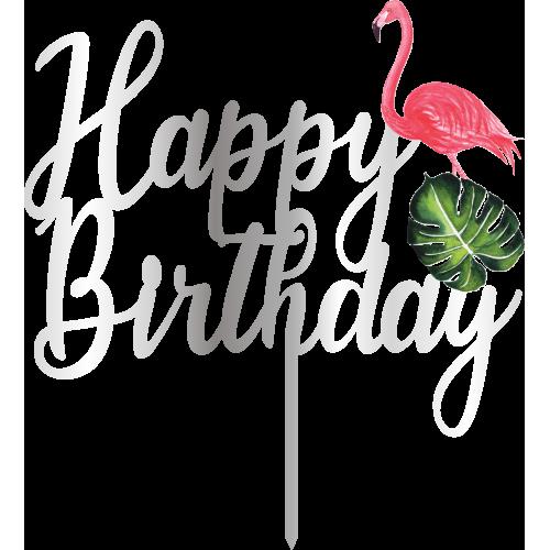 Topper - Happy Birthday Flamingo,  gümüs, H: 16,5 cm