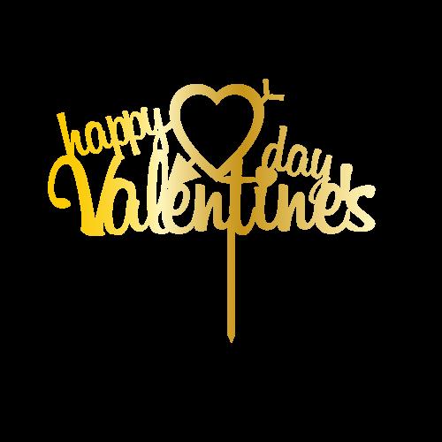 Happy Valentines Day Altın Renk Aynalı Pleksi Pasta Topper