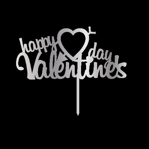 Happy Valentines Day Gümüş Renk Aynalı Pleksi Pasta Topper