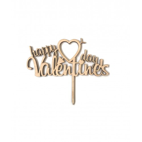 Happy Valentines Day Ahşap Pasta Topper