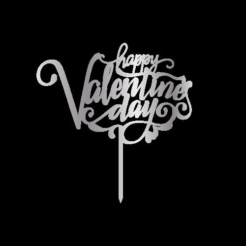 Happy Valentinas Day Gümüş Renk Aynalı Pleksi Topper