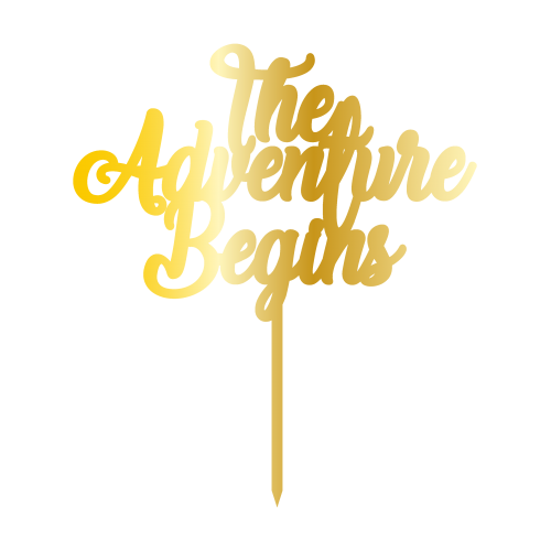 The Adventure Begins Altın Renk Aynalı Pleksi Pasta Topper