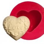 Cesil Desenli Love Kalp Silikon  Kalıbı (6,5*7cm)