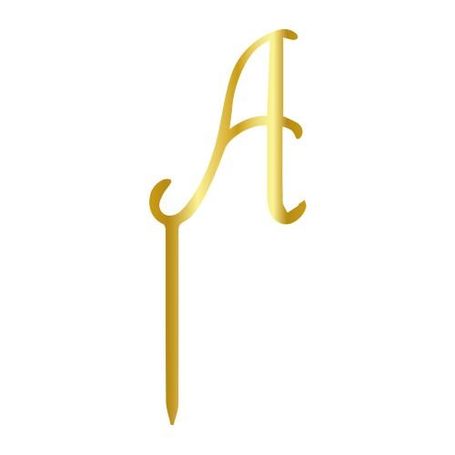 A Harfi Altın Renk Aynalı Pleksi Pasta Topper - 12,5 cm