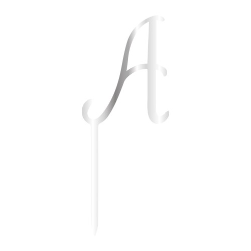 A Harfi Gümüş Renk Aynalı Pleksi Pasta Topper - 12,5 cm