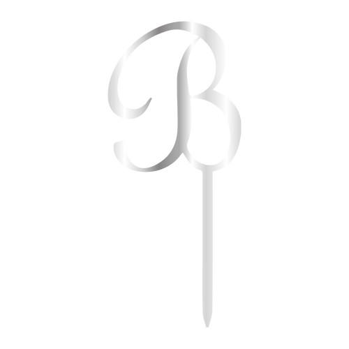 B Harfi Gümüş Renk Aynalı Pleksi Pasta Topper - 12,5 cm