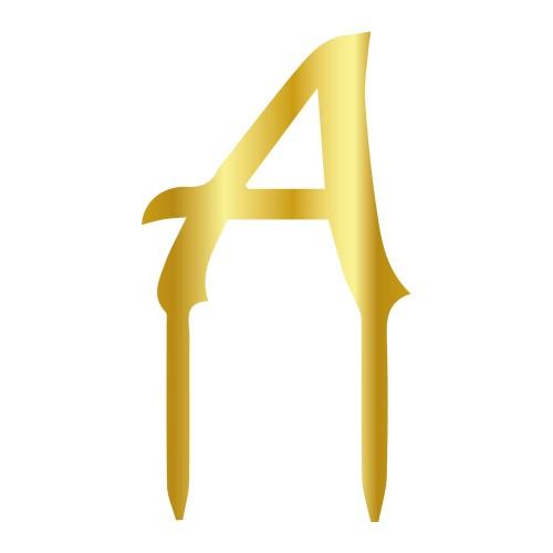 A Harfi Altın Renk Aynalı Pleksi Pasta Topper - 6 cm