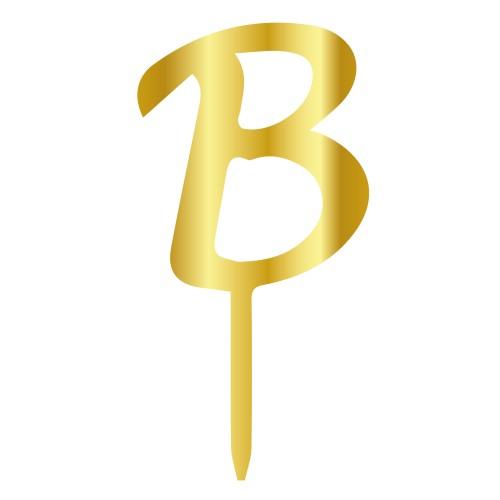 B Harfi Altın Renk Aynalı Pleksi Pasta Topper - 6 cm