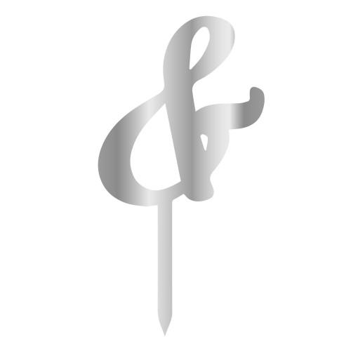& İşareti Gümüş Renk Aynalı Pleksi Pasta Topper - 6 cm