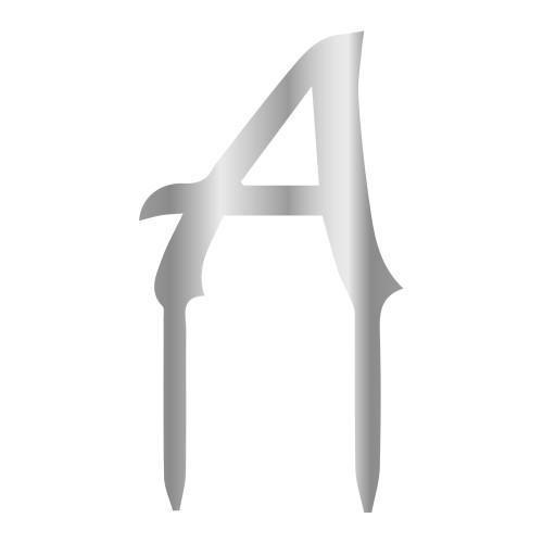 A Harfi Gümüş Renk Aynalı Pleksi Pasta Topper - 6 cm