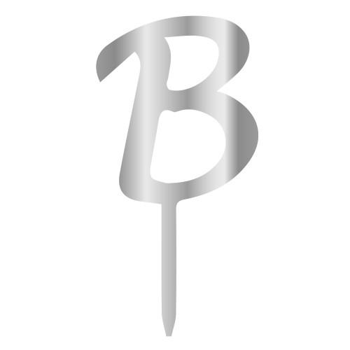 B Harfi Gümüş Renk Aynalı Pleksi Pasta Topper - 6 cm
